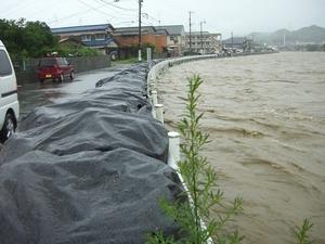 紫川の水が土嚢の高さに達し、次第に水が溢れてきた現場 (朝7時南方2丁目)