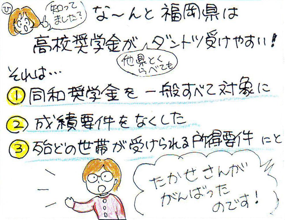 知ってました?なんと福岡県は高校奨学金が他県と比べてダントツに受けやすい。それは1.同和奨学金を一般すべて対象に2.成績要件をなくした3.ほとんどの世帯が受けられる所得要件にしたからです。たかせさんが頑張った成果です。